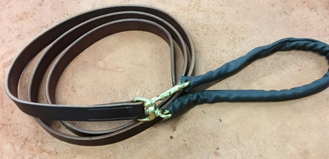 LEATHER LEAD SHANK WITH LEATHER COVERED CHAIN